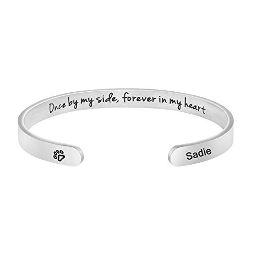 Dog Memorial Cuff Bracelet Remembrance Loss of Dog Jewelry Sympathy Gift Engraved Pets Name