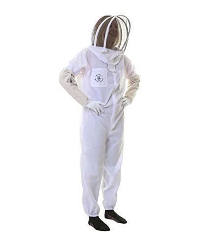 Vêtement classique de protection contre les abeilles avec voile d'apiculteur et gants S blanc