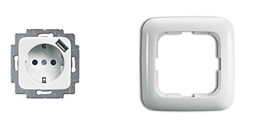 Busch Jäger complete set USB-stopcontact incl. kinderbeveiliging - inclusief 1 frame - volledig klaar voor installatie - alpinewit - Reflex SI