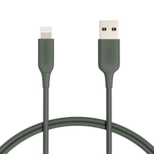 Amazon Basics - Cavo di ricarica Lightning-USB-A, certificato MFi, per iPhone, verde (midnight green), 91,5 cm