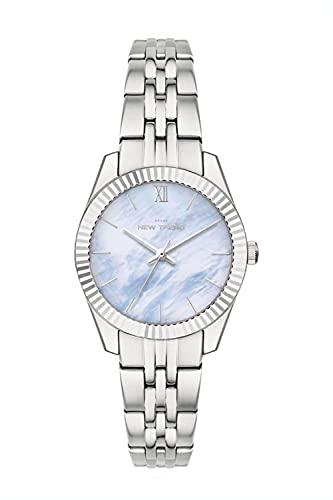 Damen-Uhr Armband-Uhr mit Metallarmband & Perlmutt Muschel Ziffernblatt in Roségold & Silber Ø 32 MM