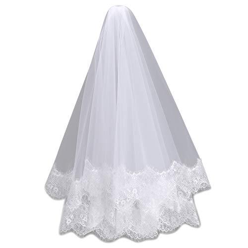 IBLUELOVER - Visillo de novia de doble capa de encaje con cabello...