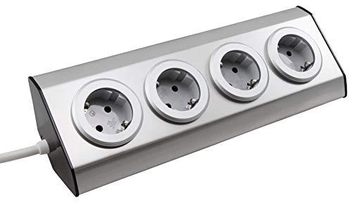 MC POWER - Steckdosenblock | PREMIUM | 4-fach Schutzkontakt-Steckdose, Aufbauversion, auch ideal für Eckmontage, Edelstahl und Kunststoff, 150cm Kabel