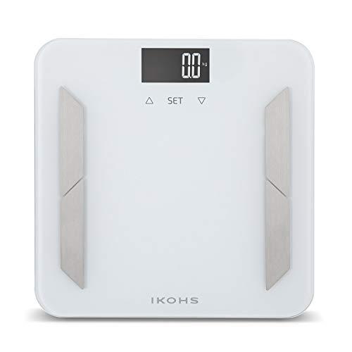 IKOHS PRO WELLNESS - Báscula de Baño, Pantalla LCD, 180 kg, Peso Corporal, Memoriza hasta 10 Usuarios, Medición de Alta Precisión, Cristal Templado, 4 sensores de medición Advanced DUAL BIA (Blanco)
