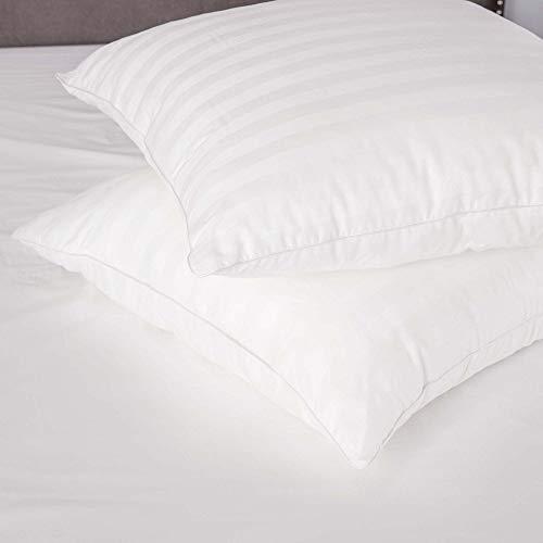 SensorPEDIC Luxury Cotton Decorator inch Sateen Stripe (Set of 2) Euro Square Pillow 28 x 28, 28' x 28', White