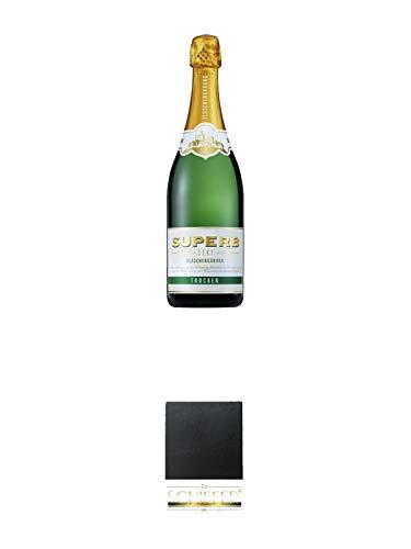 Geldermann SUPERB Sekt - Trocken - Deutschland 1,50 Liter + Schiefer Glasuntersetzer eckig ca. 9,5 cm Durchmesser