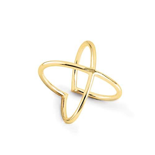SINGULARU ® - Anillo 4Ever Oro para Mujer Plata de Ley 925 con baño de Oro de 18k - Joyas mujer