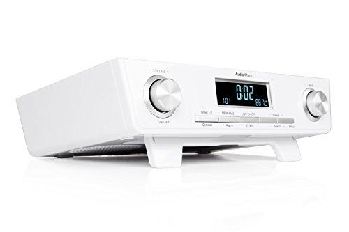 AudioAffairs Küchenradio UKW FM Unterbau-Radio, Küchenunterbauradio mit LED Licht, Unterschrank-Küchenradio und Back-Timer, Eieruhr, Radio Küche mit Kurzzeit Wecker, Senderspeicher, Datumsanzeige