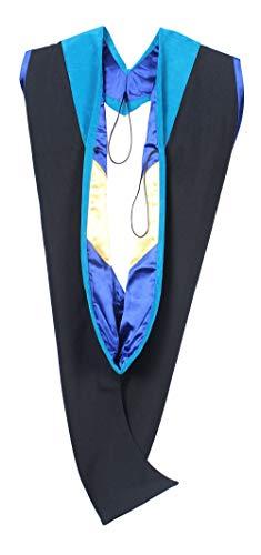 Tnghui Unisex Deluxe Master Hood Graduation Master Hood, Peacock-royal Blue-gold, new