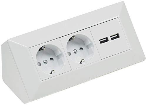 ChiliTec Steckdosenblock Ecksteckdose mit 2x USB 2 Schutzkontaktsteckdosen Aufbausteckdose 230V Unterbau Eck-Montage für Arbeitsplatte Küche Weiß