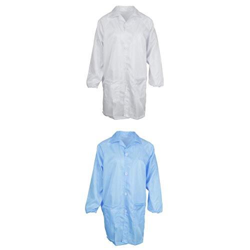 Almencla Bata De Laboratorio De 2 Piezas, ESD Antiestático, A Prueba De Polvo, Resistente Al Desgaste, Transpirable   Blanco + Azul