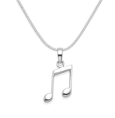 Heather Needham Sterlingsilber Halskette mit Musiknote auf 43,2cm Silberkette–Achtelnote-AnhängerAnhängergröße: 18 mm.Geschenkbox 8076/B43HN.