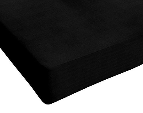 Italian Bed Linen Max Color Lenzuolo sotto Matrimoniale King Size, 100% Cotone, Nero, 180 x 200 cm