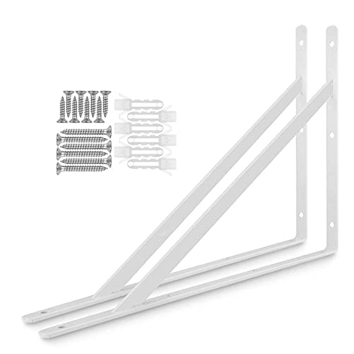 Soportes para estantes flotantes, trípode, triángulo, montaje en pared, color blanco, 2 unidades, 400 x 250 mm
