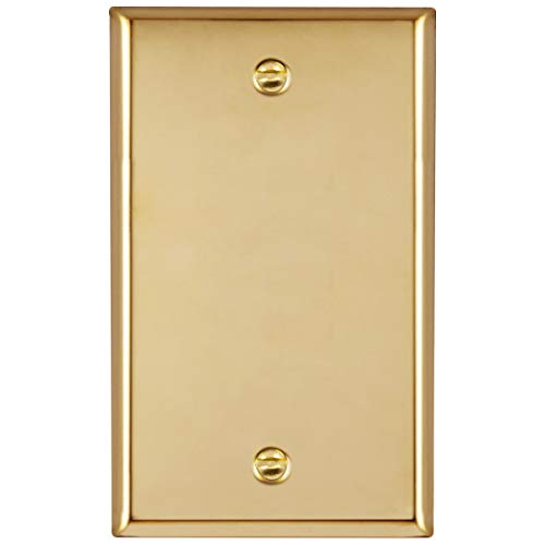 ENERLITES Blank Device Metal Wall Plate, Corrosive Resistant, Size 1-Gang 4.50' x 2.76', 7701-PB, 302 Polished Brass, UL Listed