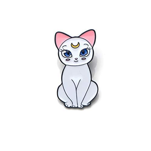 QXWLKJ SQWK Nette Sailor Moon Katzen Emaille Dornschließe Broschen Für Cartoon Revers Pin Schmuck Tasche Abzeichen Geschenk über 2-3 cm weiß