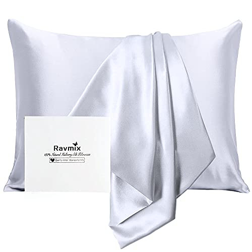 Ravmix Silk Pillowcase for Hair and Skin with Hidden Zipper, Both Sides 21 Momme Natural Real 100% Mulberry Silk Pillow Case, Standard Size 20×26 inches, 1PCS, Silver Grey