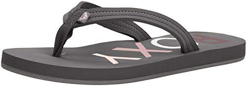 Roxy Women#039s Vista Logo Sandal Flip Flop Grey 7 M US