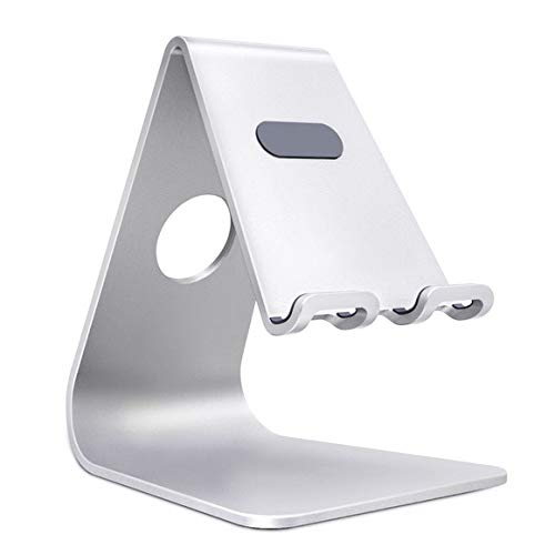 HIKER Desktop Cell Phone Holder Mobile Stand & Tablet Phone Stand, Aluminum Charging Phone Stand for All Cell Phones and Tablet (up to 10.1 inch) (Silver)