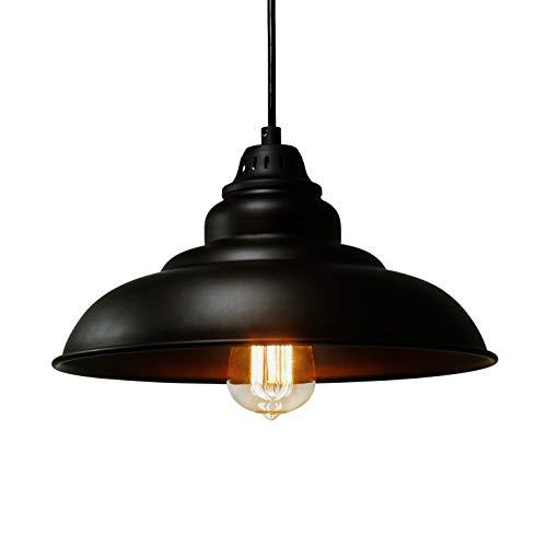 Barn Pendant Lights, FINXIN 1-Light Hanging Light for Kitchen Dining Table Black 12