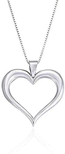 ZGYFJCH Co.,ltd Collar Color Plata Collar de Amor Hueco Mujer Simple en Forma de corazón Colgante de clavícula Regalo Personalizado