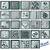 Eliseo 24 PCS Mix Pattern Journal Stencil Plastic Planner Set for Journal / Notebook / Diary / Scrapbook DIY Drawing Template Stencil 5x5 Inch