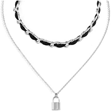 Minimalist Lock Lariat Necklace Layered Necklace Puffy Tiny Heart Necklace Chunky Chain Simple product image