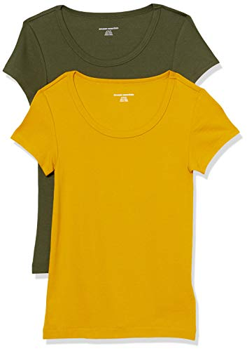 Amazon Essentials 2-Pack Slim-fit Cap-Sleeve Scoopneck fashion-t-shirts, Braun (Gold/Olivgrün), XX-Large