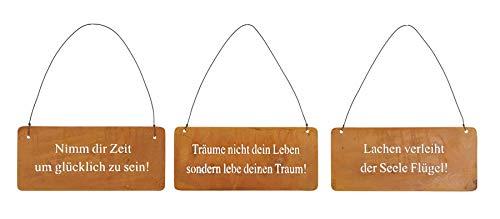 3er Set Wandbilder Sprüche 18x8cm Schilder Aufhänger Garten-Deko Türschild Edelrost Braun Rost-Deko Wanddeko Außen