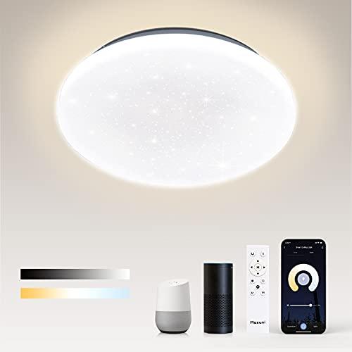 Plafón LED 24W, plafón LED Maxuni Smart WiFi 2700K-6500K regulable, compatible con Alexa y Google Home Ø28,5cmIP54 2000LM, apto para salón, dormitorio, cocina, baño [eficiencia energética A ++]