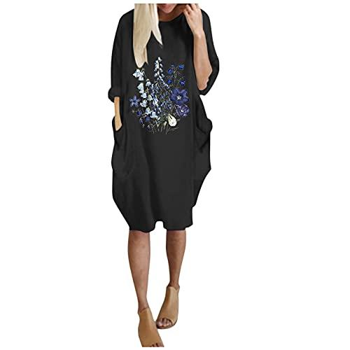 Harpily Mujeres Camiseta de Manga LargaMujer Sudadera Tops Chaqueta Suéter Jersey Mujer Otoño Invierno Talla Grande Hoodie Sudadera Suelto Sólido Manga Larga con Capucha Tejido (Negro, L)