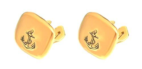 Manschettenknöpfe Anker Button Toppers Covers z. Überziehen vergoldet glänzend Made in Germany + Blauer Exklusivbox