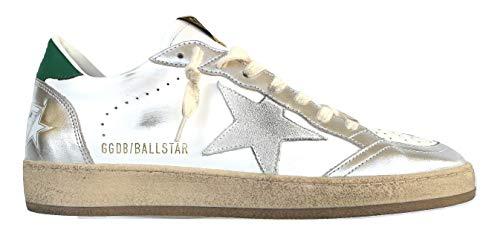 Golden Goose Scarpe Sneakers Uomo Vintage Ball Star 80185 Bianco-Verde-Argento (45)