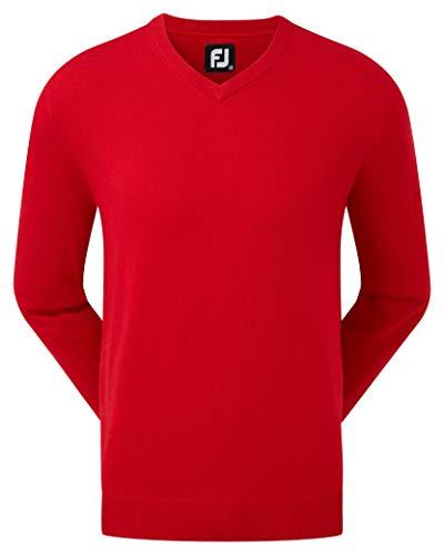 Footjoy Wool Blend V-Neck Pullovers Jersey, Rojo (Rojo 90132), Medium (Tamaño del Fabricante:M) para Hombre