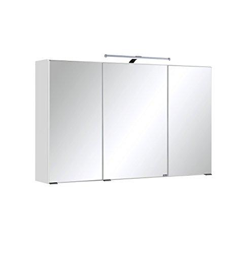 Held Möbel Cardiff 3D Spiegelschrank 100, Holzwerkstoff, weiß, 20 x 100 x 64 cm