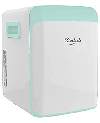 Cooluli Classic Turquoise 15 Liter Compact Portable Cooler Warmer Mini Fridge for Bedroom, Office, Dorm, Car - Great for Skincare & Cosmetics (110-240V/12V)