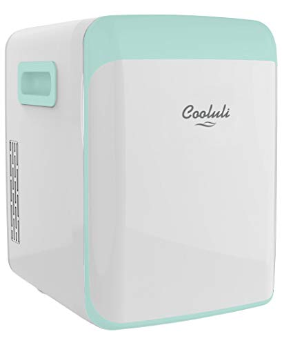 Cooluli 15L Mini Fridge for Bedroom - Car, Office Desk & College Dorm Room - 12V Portable Cooler & Warmer for Food, Drinks, Skincare, Beauty, Makeup & Cosmetics - AC/DC Small Refrigerator (Turquoise)