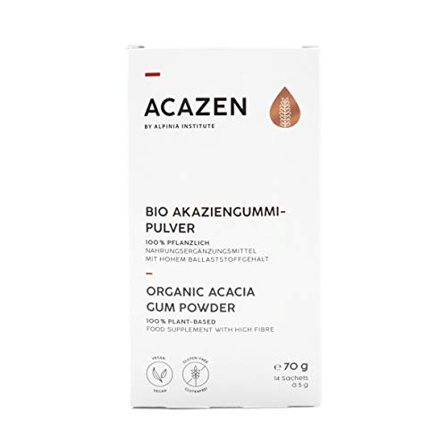 ACAZEN Organic Natural Fibre Supplement – Soluble Fibre For a Good Gut Feeling – 100% Pure Acacia Gum (Arabic Gum) – 7 days pack – Vegan, Gluten Free, Low FODMAP – Manufactured in Germany (DE-ÖKO-001)