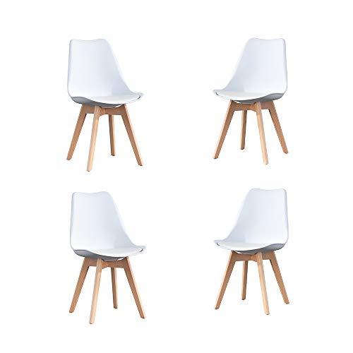 Set di 4 sedie per sala da pranzo con cuscino imbottito, piedi in legno massiccio, stile scandinavo, per cucina/ufficio, colore: bianco