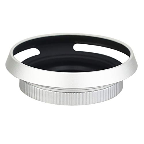 JJC 自動開閉式レンズキャップ + レンズフード キット Olympus M.ZUIKO DIGITAL ED 14-42mm F3.5-5.6 EZ & Panasonic Lumix G Vario 12-32mm F3.5-5.6 ASPH レンズ用 銀