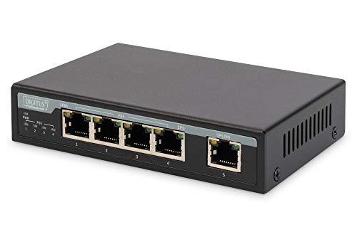 DIGITUS 5-Port 10/100Mbps Fast Ethernet Switch mit 4 PoE Ports Desktop Switch und 1 Uplink, 65 Watt
