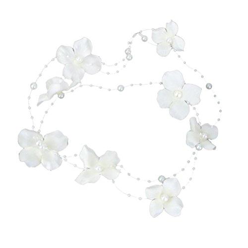 PIXNOR Bridal Clip bandeau tissu perle fleur mariage accessoires pour cheveux (blanc)