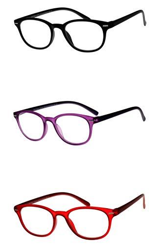 Leesbril dames rood paars zwart met chroomzilveren strepen boven aan het frame grote lichte hoekige glazen transparant frame leeshulp kijkhulp Dioptrien 3.0 lila