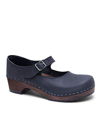 Sandgrens Swedish Low Heel Wooden Clogs for Women with Leather Upper, US 7-7.5   Mary Jane Black DK, EU 38