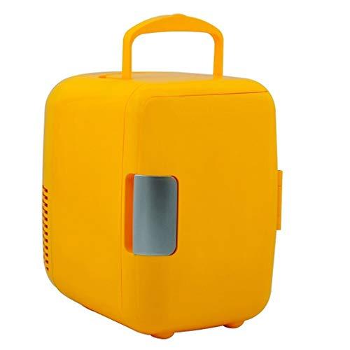 JGWJJ Mini refrigerador, refrigerador y calentador eléctricos, 4 litros / 6 latas Mini refrigerador pequeño Refrigerador de bebidas de 12V Manija portátil Refrigerador retro pequeño for automóvil, via