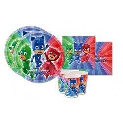 arcobalenoparty – Super pigiamini Kit 72 anniversaire coordonné Table PJ Mask (16 assiettes, 16 gobelets, 40 serviettes)