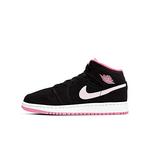 Nike AIR Jordan 1 MID GS Black Pink Girls Basketball Athletic Shoes (Numeric_6_Point_5)
