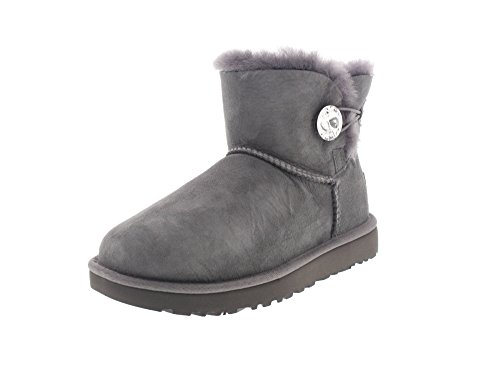 UGG Damen W Mini Bailey Button Bling Mode-Stiefel, Grey, 42 EU