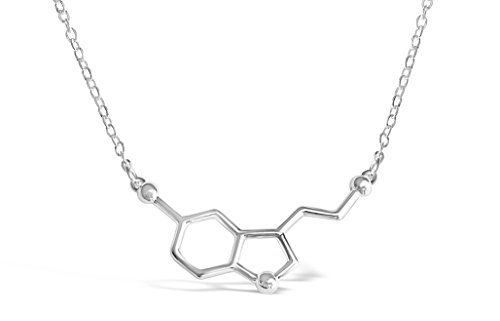 Rosa Vila Happiness Serotonin Molecule Necklace For Women, Happy Serotonin Necklace, Science Jewelry For Women, Ideal Necklaces For Teacher, Professor, Chemistry Grad, And Science Lovers (Silver Tone)