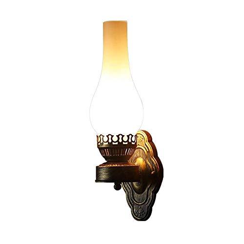COCOL Einfach Kreativ Wandleuchte Vintage Antik Nostalgie innen Design Wandlampe Rund Weiß Glas Lampenschirm Lampenfassung Schön Korridor Treppen Schlafzimmer Gang Ø12cm*42cm
